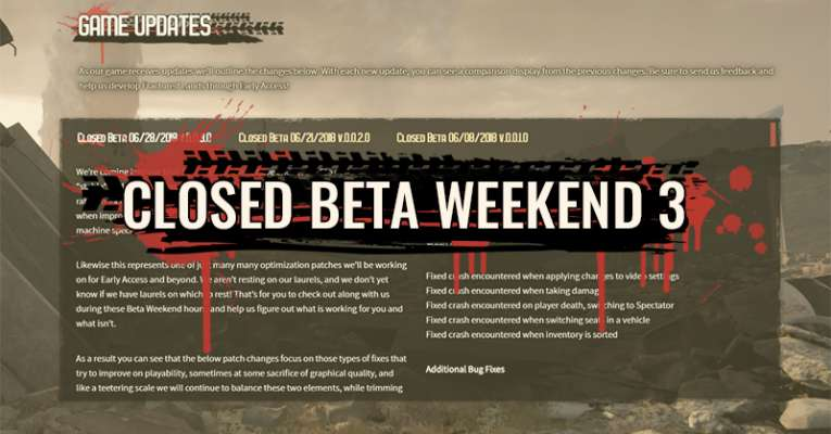 Closed Beta Patch Notes v.0.0.3.0 – 6/28/2018